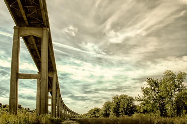 Reedy Point Bridge Against Sky Limited Edition Signed Fine Art Landscape Photograph by Melissa Fague