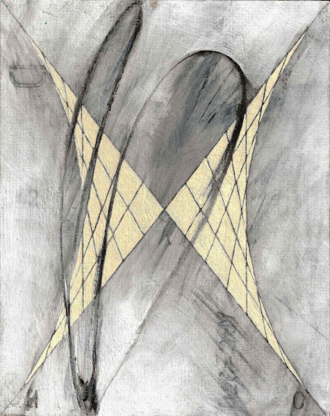In Scribble Bodice, a striking symmetrical parabolic grid is set against a black, gray and white background. The artist merges the aesthetics of the technical aspect of math with the expressiveness of his abstract painting style in this print from an