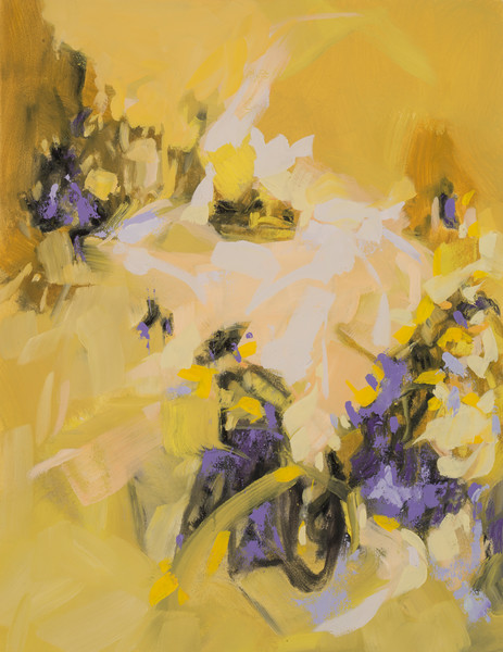 Violets and Irises oil on paper