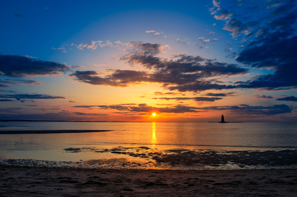 Sunset at Breakwater Lighthouse Limited Edition Signed Fine Art Landscape Photograph by Melissa Fague