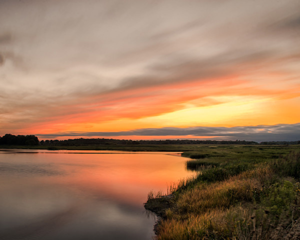 Sunset Over Woodland Marsh Limited Edition Signed Fine Art Landscape Photograph by Melissa Fague