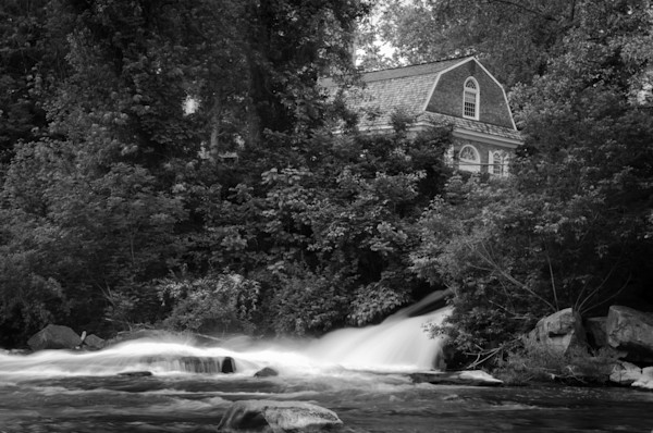 The Brandywine River and First Presbyterian Church Black and White Limited Edition Signed Fine Art Landscape Photograph by Melissa Fague