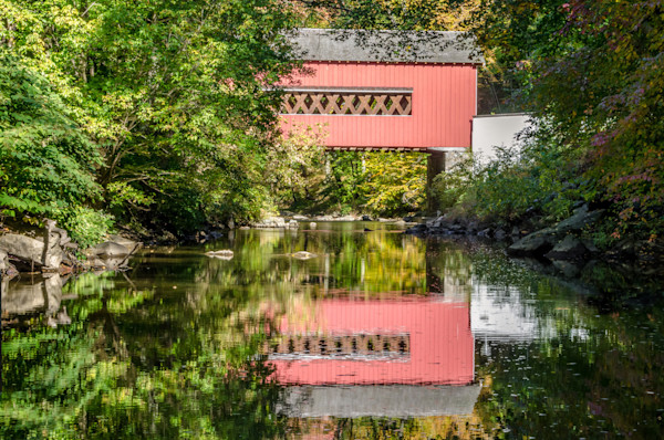 The Reflection of Wooddale Covered Bridge Limited Edition Signed Fine Art Landscape Photograph by Melissa Fague