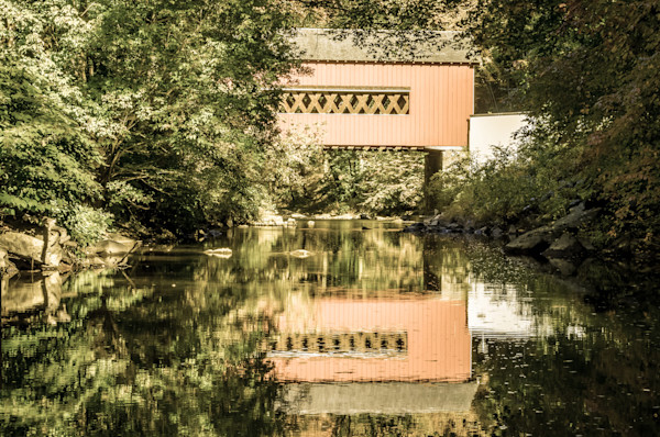 The Reflection of Wooddale Covered Bridge Aged Limited Edition Signed Fine Art Landscape Photograph by Melissa Fague
