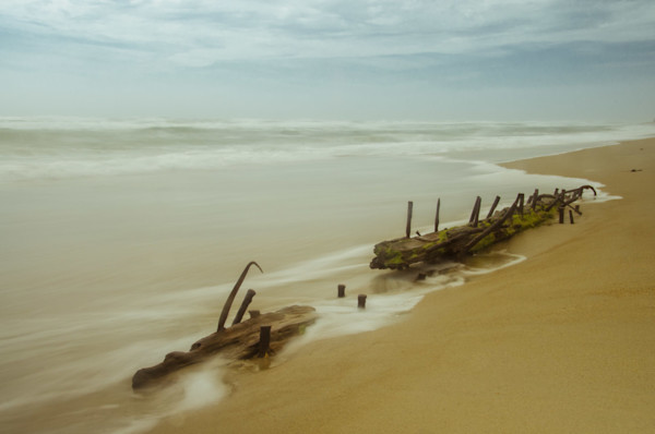 Misty Shipwreck on the Beach Limited Edition Signed Fine Art Landscape Photograph by Melissa Fague