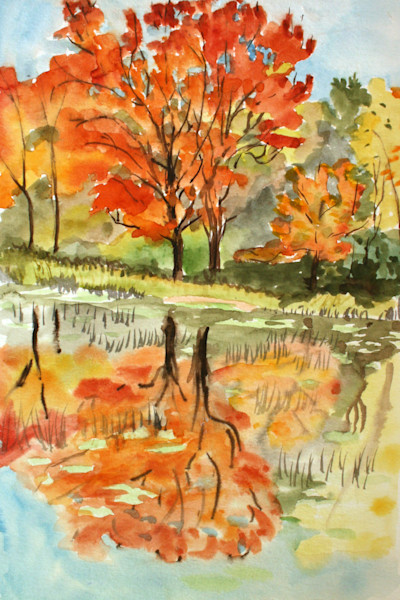 Red Maple Lake Art for Sale