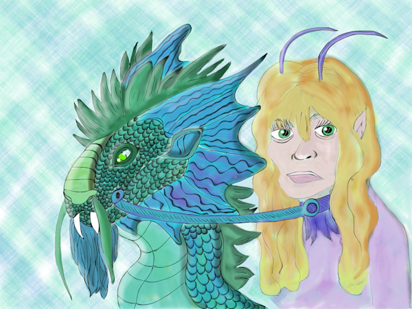 Angry Elf Jolene and Her Dragon Rex Fine Art Print