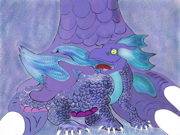 Baby Frost Dragon and Mother Fine Art Print