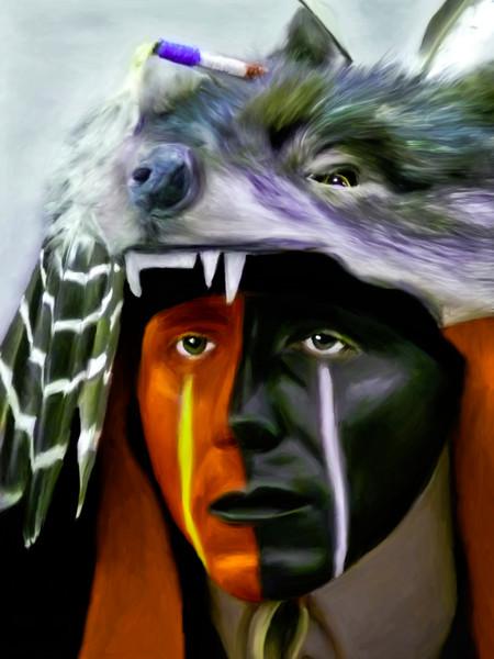Pow Wow Regalia Southwestern Wolf|Wall Decor fleblanc