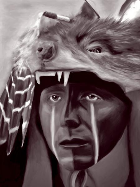 Monochrome, Black & White, Native American On metal, canvas or paper, fleblanc