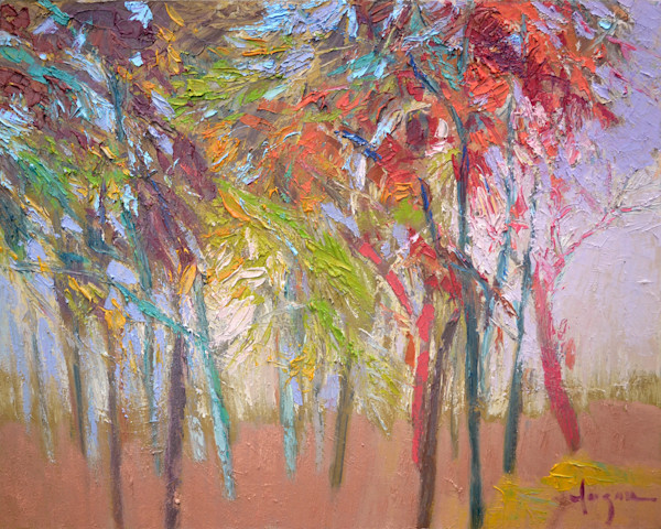 Glow in the Woods | Original Oil Painting, Abstract Landscape with Trees by Fagan