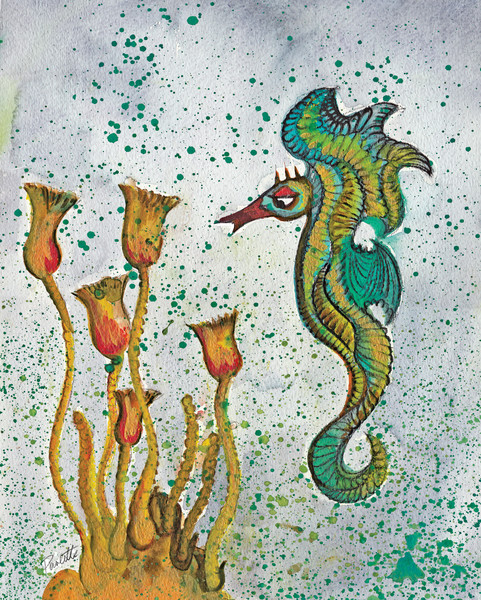 Green Seahorse with Yellow flowers