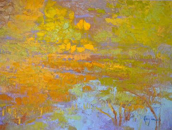 Pond III ~ Autumn Water Reflections Original Oil Painting by Dorothy Fagan