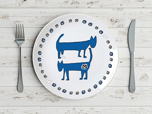Pop Art Two Blue Cats Minimal Animal Plate