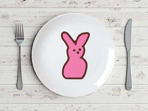 Pop Art Easter Peep Candy Bunny Plate Retro Nostalgia