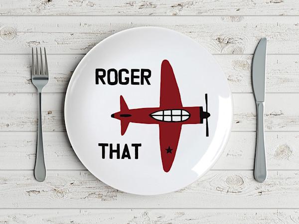 Pop Art Roger That Nostalgic Vintage Plane Plate