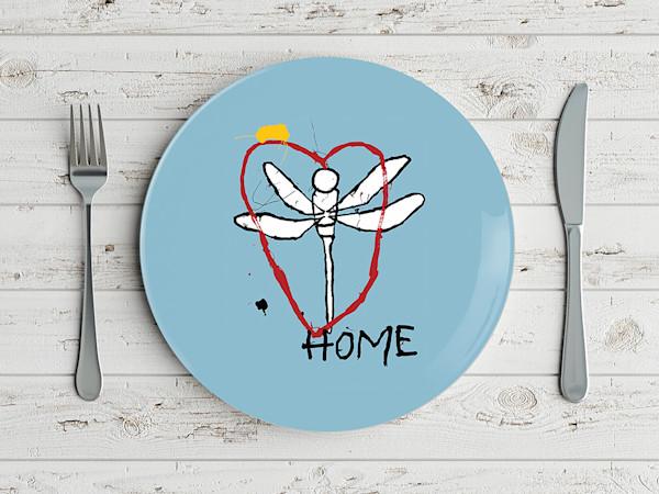 Pop Art Dragonfly Heart Home Plate