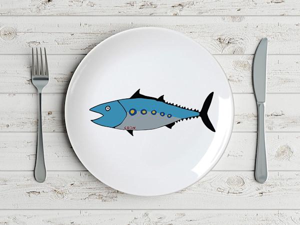 Pop Art Minimal Blue Fish Plate