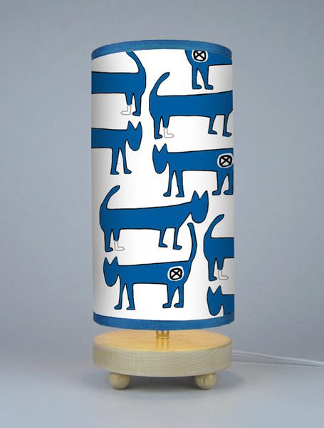 Pop Art Two Blue Cats Animal Theme Minimal Lamp