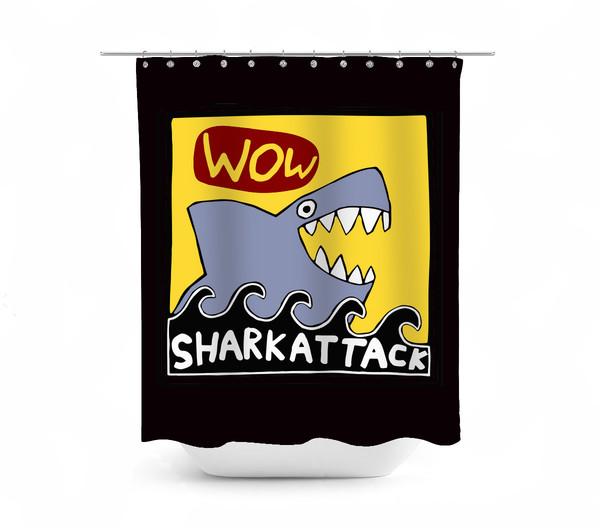 Pop Art Shark Attack Shower Curtain