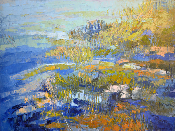 Rippling Flow | Blue Water Painting  Dorothy Fagan Collection