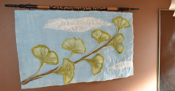 Fine art felted maidenhair branch