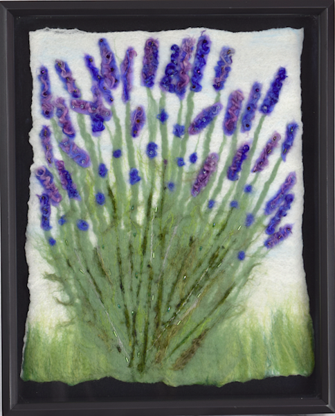 Felted lavender bush in shadowbox frame