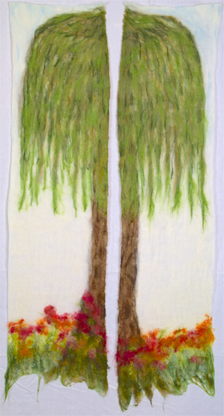 Willow Tree Diptych, Fine art Felting wall hanging