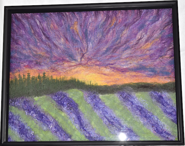Framed felted fine art lavender field