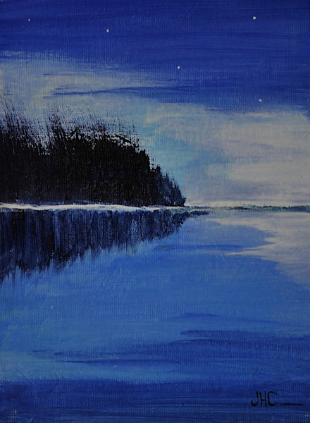 Playing the Blues fine art painting of the lake in summer.