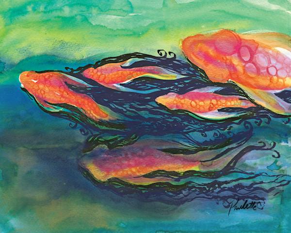 Five Orange Koi swimming in black water