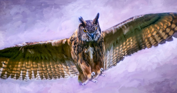 Great Horned Tiger Owl Painting| Wall Decor|Wall Decor fleblanc