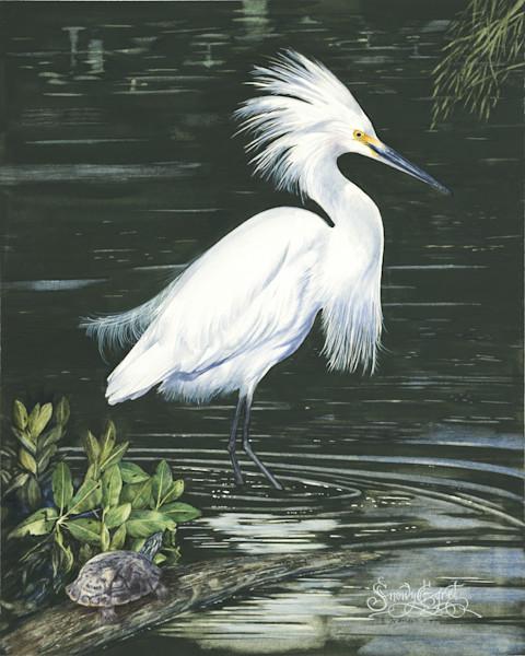 Snowy Egret by Ernie Francis | SavvyArt Market art print