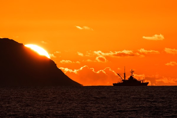Sonar Ship at Sunset Print by Brad Scott
