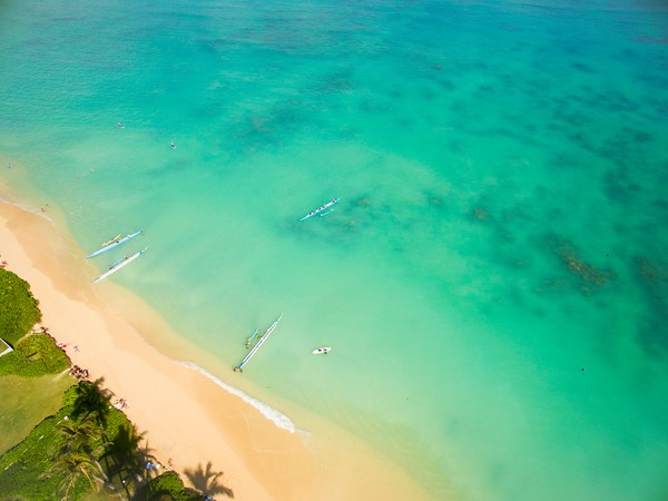 Lanikai Outriggers Aerial Photography Print by Brad Scott