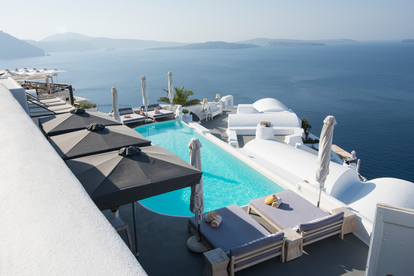 Santorini Pool With A View Art Print by Brad Scott