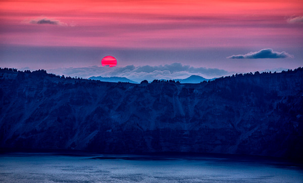 Sunset Over Crater Lake Rim