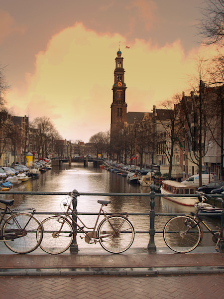 Canal of Amsterdam in Sepia