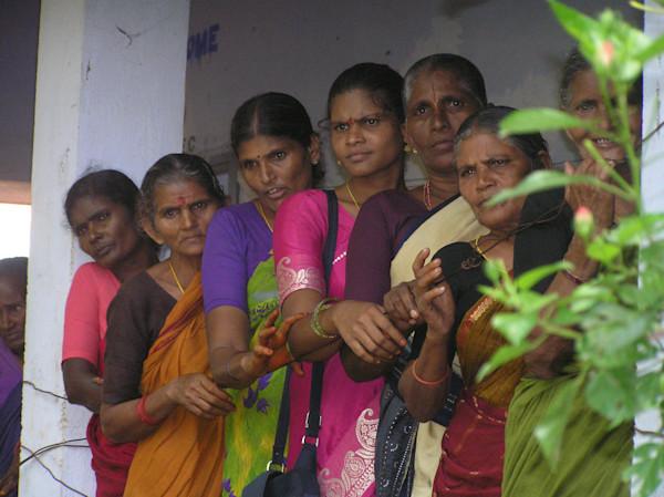 Beautiful Ladies of India Waiting for Eye Exam