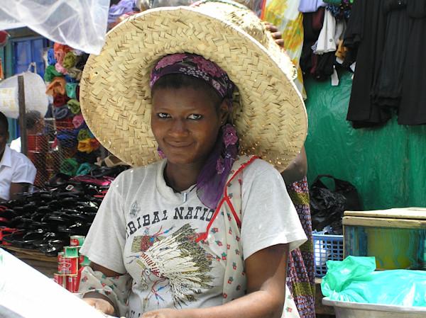 Market Vendor with Big Straw Hat