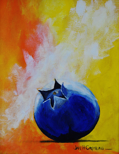 Dynamic fine art painting titled, Last Blueberry of the Season makes a big statement.