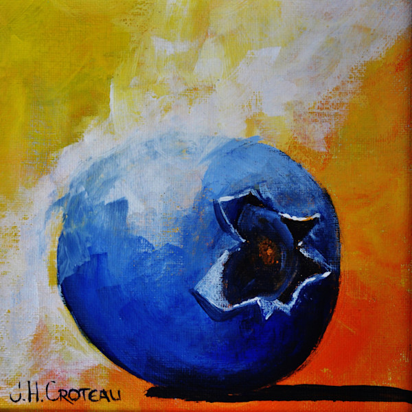Striking blueberry bathed in light, Blueberry Spotlight fine art painting.