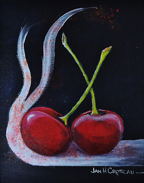 Exuberant still life, fine art print of two cherries celebrating life.
