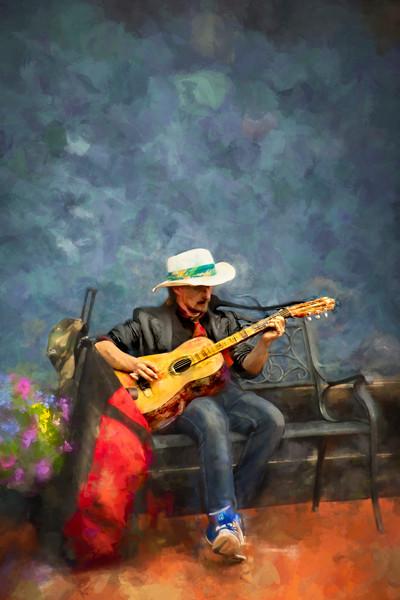 Street Performer Music Guitar Painting|Wall Decor fleblanc