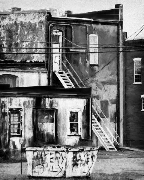 Street Gritty City Abstract Monochrome|Wall Decor fleblanc