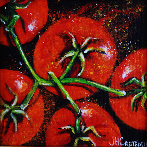 I Love You From My Head Tomatoes is a fun fine art painting of tomatoes on the vine.
