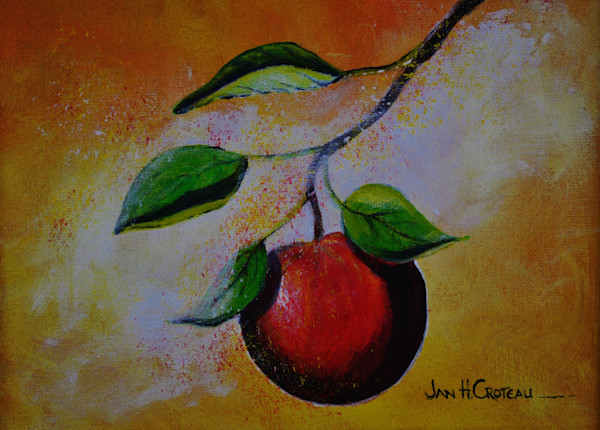 Fine art apple painting, Out On A Limb is available as prints.