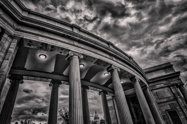 Denver Civic Center Columns B&W Horizontal Photograph Colorado State Capitol