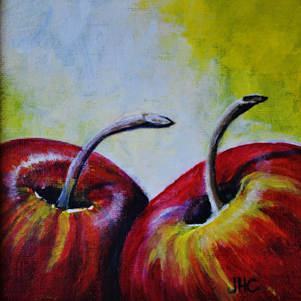 The Apple Couple, still life, fine art print of two red apples in the light.