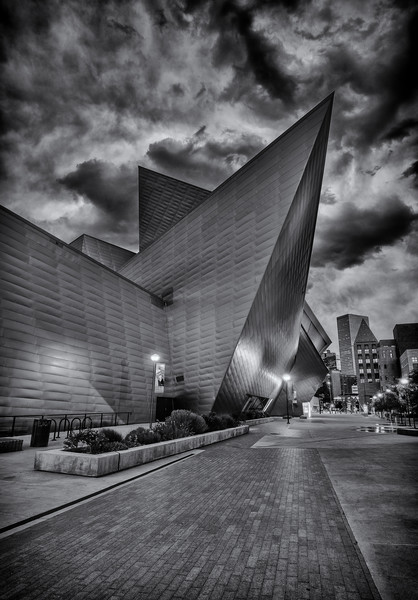The Denver Art Museum Night Time Photographic Print for Sale
